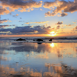 Farewell  by Rick Blakeley - Landscapes Sunsets & Sunrises ( sunset, pacific ocean, cloudscape, beach, seascape )
