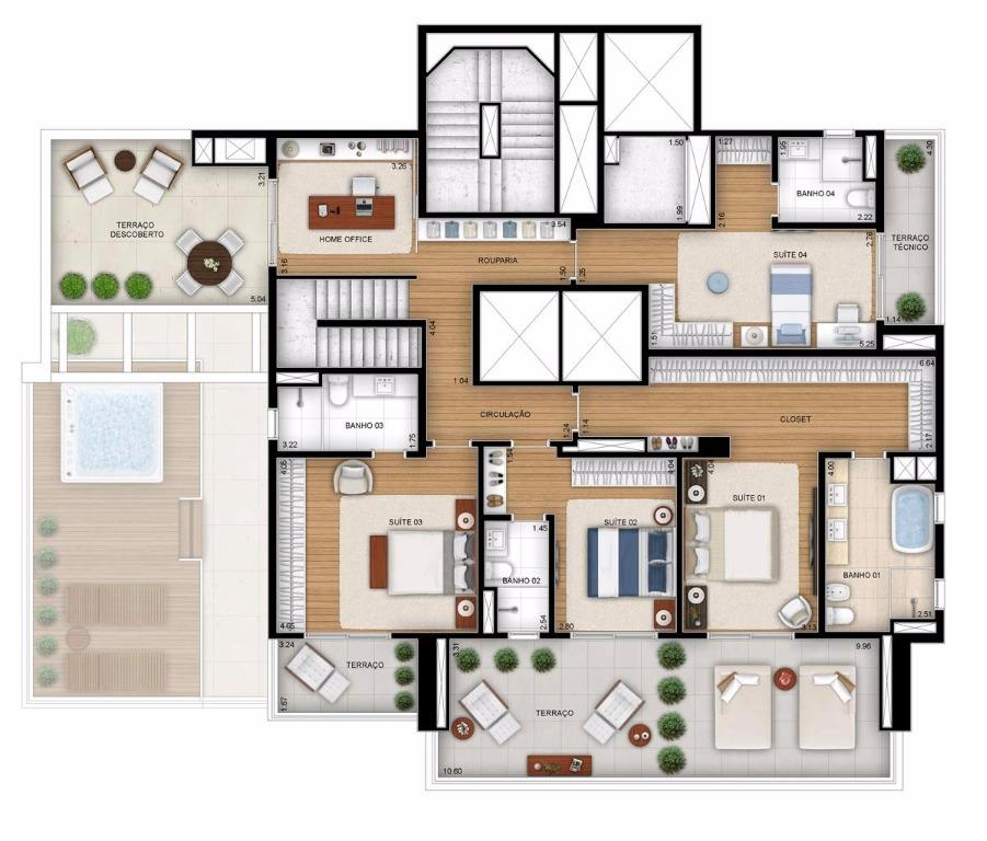 Planta Cobertura  Duplex Superior - 514 m²