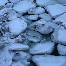 Blocks of Snow in the River by Kristine Nicholas - Novices Only Objects & Still Life ( water, icy, sea ice, snowy, sea, ocean, dusk, nightscape, winter, cold, night photography, ice, snow, night, river )