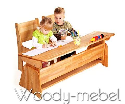 Детская мебель: Парта двойная без пеналов, стулья (комплект)