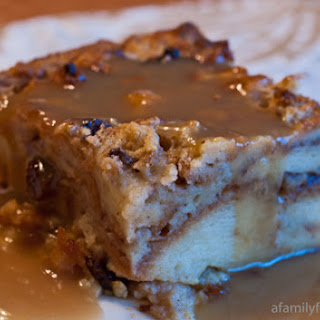 Cinnamon Roll Bread Pudding with Bourbon Sauce