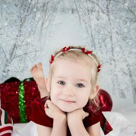 Sweet Girl by Jenny Hammer - Babies & Children Child Portraits ( child, girl, christmas, toddler, cute )