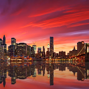 Gotham City by Matej Kováč - City,  Street & Park  Skylines ( skyline, sunset, new york, usa, night, lights, garyfonglandscapes, holiday photo contest, photocontest, , bridge, city )