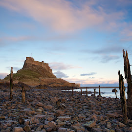 Holy Island Sunset by Charlie Davidson - Landscapes Beaches ( uk, england, sunset, sea, long exposure, castle, beach, rocks )