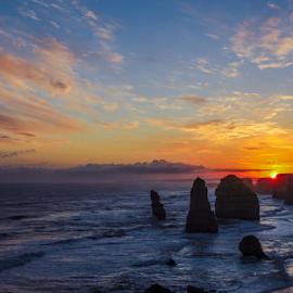 twelve apostles  by Edwin Caronongan - Landscapes Travel ( great ocean road, sky, melbourne, relax, twelve apostles, simple, sunset, australia, ocean, beach, travel, landscape, travel photography, destination,  )