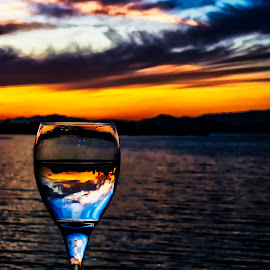 Sunset, beach & wine R & R by Jamie Valladao - Food & Drink Alcohol & Drinks ( calm, clouds, wine, orange, reflection, relax, bay, sunset, ocean, beach, relaxing, tranquil, tranquility )
