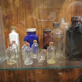 Antique Bottles by David Jarrard - Artistic Objects Glass ( different sizes colorful, blue glass, bottles, antiques )