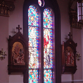Benches and stain glass by Brenda Shoemake - Buildings & Architecture Places of Worship
