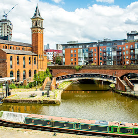 Buildings On The Canal by T Sco - Buildings & Architecture Office Buildings & Hotels ( sidewalk, england, business, stairs, office, water, motel, manchester, boat, building, home, transportation, path, walking, hotel, canal, bridge )