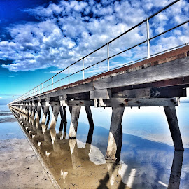 Port Germain Jetty SA by Deb Thomas - Instagram & Mobile iPhone ( water, reflections, seascape, jetty )