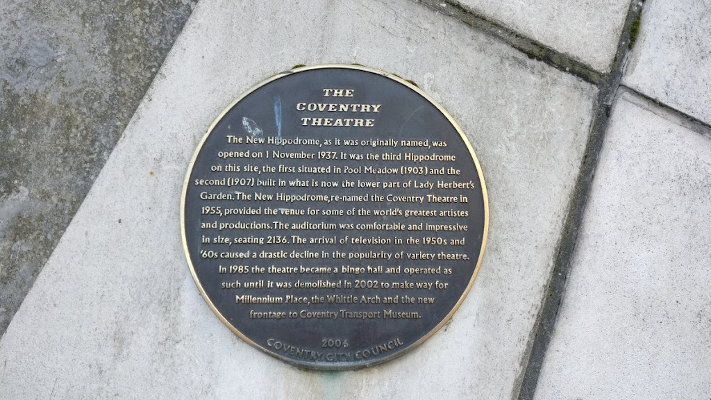 The Coventry Theatre The New Hippodrome, as it was originally named, was opened on 1 November 1937. It was the third Hippodrome on this site, the first situated in Pool Meadow (1903) and the second ...