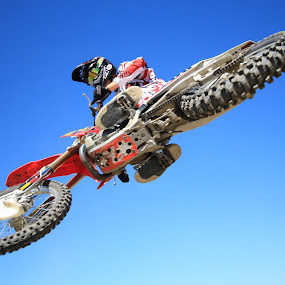 sky's the limit by Scott Welch - Sports & Fitness Other Sports ( sports photography, wide angle, unedited, blue skies, motorcross, mx, motorcross pic )