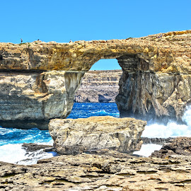 The Azure Window! by Ryan Agius - Landscapes Caves & Formations ( amazing, holiday, wind, arch, blue, gozo, malta, waves, formations, caves, weather )