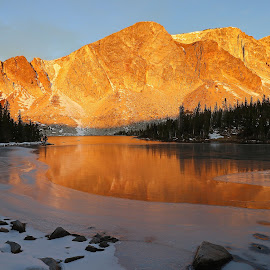 Icy Reflection by Kirby Hornbeck - Landscapes Mountains & Hills ( hills, mountains, ice, wyoming, snow, lakes, reflections, trees, rocks )