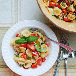 Caprese Pasta Salad with Orecchiette, Tomatoes and Basil