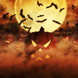 Halloween Pumpkins At The Cemetery Rising From The Mist With Clo by Aleksandar Ilic - Illustration Holiday ( treat, fingers, fond, graveyard, halloween, pumpkins, bat, holidays, halloween background, scary, fear, sky, backdrop, old, night, woods, celebration background, haunted house, horror background, spooky, celebration, moon, mystery, haunted, 3d rendering, light, background, october, autumn, evil, forest background, poster, party, full, fondo, landscape house, seasonal, concept, trick, holiday, house, bats, fall, mysterious, design, dark, cemetery, halloween moon, witchcraft, full moon, pumpkin background, art, grunge, hallowen, horror, grave, autumn background, haloween, copyspace, black, lantern, jack, halloween backgrounds, backgrounds, illustration, pumpkin )