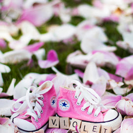 violet shoes by Aaron Taylor - Babies & Children Hands & Feet ( shoes, baby feet, baby girl, baby, flowers )