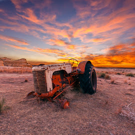 Tractor Sunset by Jim Talbert - Landscapes Sunsets & Sunrises ( pasture, sky, nature, hdr, sunset, landscapes, landscape, kansas, abandoned )