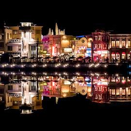 Night Symmetry by Jun Robato - City,  Street & Park  Night ( night shots, japan, osaka, universal studios, reflections )
