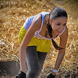 Out Of The Black Hole ! by Marco Bertamé - Sports & Fitness Other Sports ( mudday, amnéville, straw, woman, 2015, lady, france, yellow, running, horror tunnel )