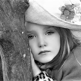 Little Belle in the Woods B&W by Cheryl Korotky - Black & White Portraits & People