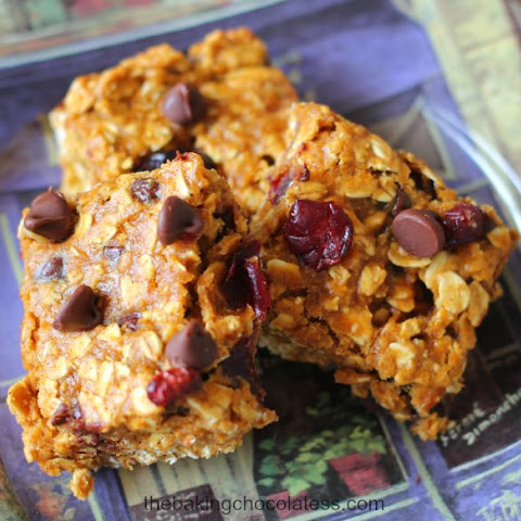 Pumpkin Cranberry Chocolate Chip Oatmeal Bars