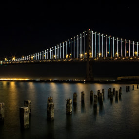 San Francisco Bay Bridge by Terry Scussel - Buildings & Architecture Bridges & Suspended Structures ( pwcbridges, night, lights )