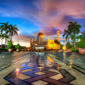 Masjid Omar Ali Saifuddin, Brunei Darussalam by Mohamad Sa'at Haji Mokim - Buildings & Architecture Places of Worship ( building, sky, sunset, mosque, brunei )