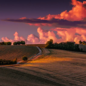 Italian Hills by Emanuele Zallocco - Landscapes Mountains & Hills ( hills, sunset, cloud )