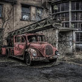 Old fire truck by Patrick Mous - Transportation Automobiles ( brandweer, zappie, urban, urbex, old, truck, dutch, firetruck, supermous, brandweerauto )
