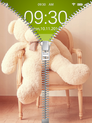 android Cute Teddy Bear Zip Lock Screenshot 2