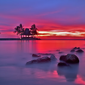 Sea of silk by Kenny Lee - Landscapes Waterscapes ( hut, coconut trees, sunset, sea, rocks, island )