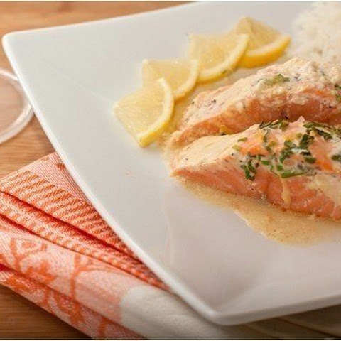 Salmon Baked With Herb Sauce.