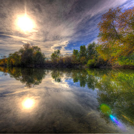 along the river 2 by Thomas Born - Landscapes Waterscapes ( water, stream, fall colors, trees, autumn colors, river )