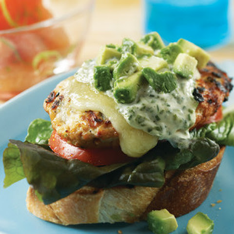 Chicken Burgers with Basil Yogurt Sauce