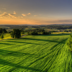 Fifty shades of green II by Klaus Müller - Landscapes Mountains & Hills ( hills, hdr, green, landscape, evening, fields,  )