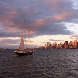 New York City Sunset with Ship by Karen Coston - City,  Street & Park  Skylines ( skyline, new york skyline, skyscraper, sailing, sunset, new york, sailboat )