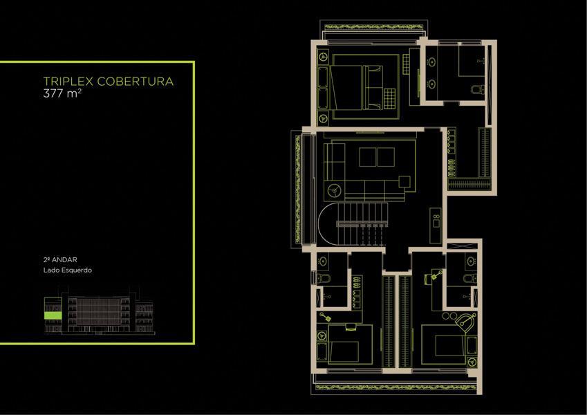 Apto Cobertura Triplex (31A) - 377 m² - Piso Inferior