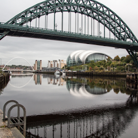 River Tyne by Martin Davis - Buildings & Architecture Bridges & Suspended Structures ( modern, water, crossing, old, reflection, structure, transport, architecture, bridge, bridges, river )