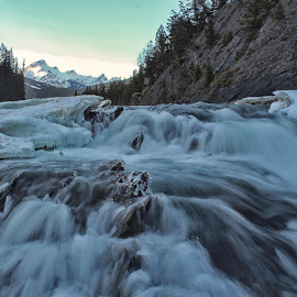 The Ice Falls by Ken Chambers - Landscapes Waterscapes ( water, mountains, mountain, sky, ice, waterfall, ken chambers photography )