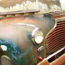 FLEETLINE CLOSE UP by William Thielen - Novices Only Objects & Still Life ( orange, old, grill, worn, chrome, oxidation, chevy, patina, details, chevrolet, blue, fender, bumper, rust, wear )