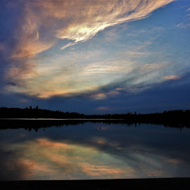 Sky High by Kathy Woods Booth - Landscapes Waterscapes ( cloud formations, michigan, sunset, cloudy, reflections )