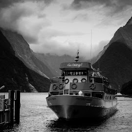 Milford Sound Cruise by Benjamin Dobbs - Transportation Boats ( milford sound, black and white, cruises, boat, new zealand )