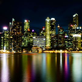 by Grace Yap - City,  Street & Park  Skylines ( reflection, cityscape, long exposure, lights, colours )