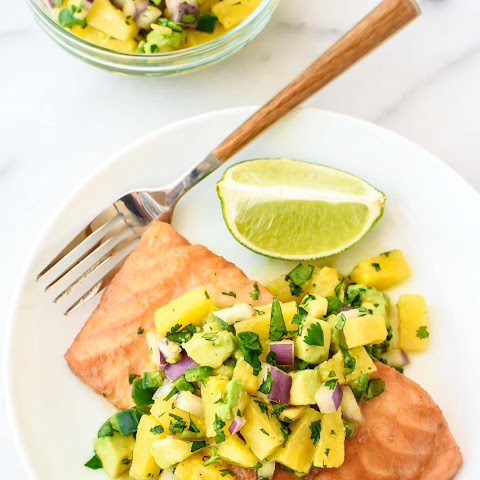 Pineapple Glazed Salmon with Avocado Salsa