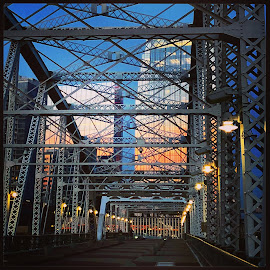 Nashville, Tennessee by Mary Phelps - Buildings & Architecture Bridges & Suspended Structures ( sky, sunrise, nashville, tennessee, city, light, downtown, bridge,  )