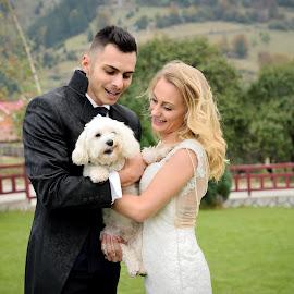 White puffy by Klaudia Klu - Wedding Bride & Groom ( love, happiness, dog, bride, groom )