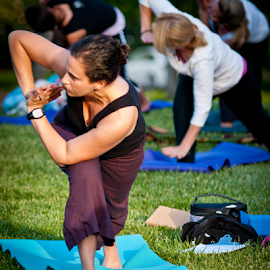 Yoga Class in the Park by Myra Brizendine Wilson - Sports & Fitness Fitness ( fitness, exercise, yoga,  )