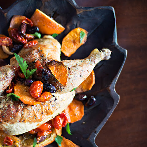 Roast Chicken with oranges, olives and parsley