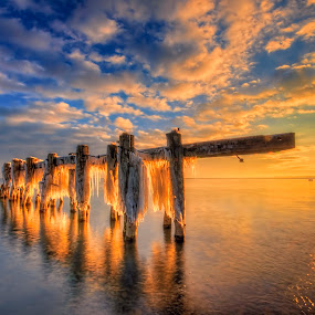 Morning Pier in the Winter by Sarah Hauck - Landscapes Waterscapes ( water, winter, hdr, pier, sunrise, morning )